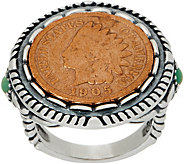 American West Sterling Silver Copper Native American Coin Turquoise Ring - J355682