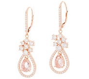 Diamonique and Simulated Morganite Pear Drop Earrings, Rose Gold Clad - J357782