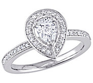 Affinity 14K Gold 6/10 cttw Pear-Shaped DiamondHalo Ring - J381382