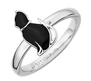 Simply Stacks Sterling Black Enamel Cat SittingProud Ring - J299183