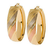 Arte dOro Oval Polished & Satin-Finish Hoop Earrings, 18K - J306783