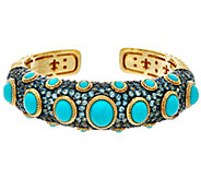 Judith Ripka 14K Clad Turquoise & Blue Topaz Cuff Bracelet - J334283