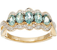 Alexandrite & Pave Diamond 5-Stone Band Ring, 14K Gold 0.80 cttw - J335383