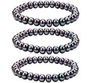 Honora Cultured Pearl Set of 3 7.0mm - 8.0mm St retch Bracelet - J336683