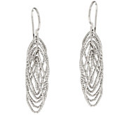 Italian Silver Sterling Diamond Cut 1-1/2 Twisted Earrings - J348083