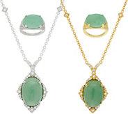 Judith Ripka Sterling or 14K Clad Green Jade Ring or Necklace - J352783