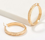 Italian Gold 1-1/2 Satin Twist Hoop Earrings 14K Gold - J356483