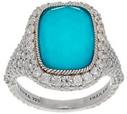 Judith Ripka Sterling Silver Turquoise & Diamonique Doublet Ring - J356683