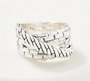 JAI Sterling Silver Carved Cross-Over Ring - J356783