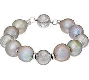 As Is Honora Ming Cultured Pearl Magnetic Bracelet Sterling Silver - J357583