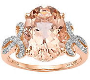 14K Rose Gold 5.55 ct Morganite & 1/7 cttw Diamond Ring - J374983