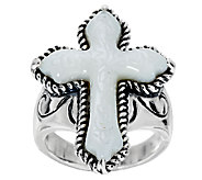 American West Carved Mother-of-Pearl Sterling Cross Ring - J384983