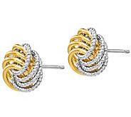 Italian Gold Two-Tone Textured Love Knot Earrings, 14K - J385583
