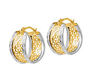 Italian Gold Two-Tone Lattice Oval Hoop Earrings, 14K - J385683