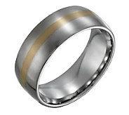 Steel By Design Mens w/ 14K Gold Inlay SatinRing - J109484
