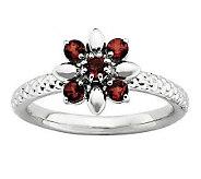 Simply Stacks Sterling Gemstone Flower Ring - J313184