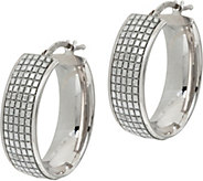Italian Silver Glitter Oval Hoop Earrings, Sterling - J347984