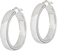 Italian Silver Polished Glitter Round Hoop Earrings Sterl. - J349884