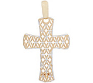 Italian Gold Two-tone Diamond Cut Cross Pendant 14K Gold 1.8g - J353484