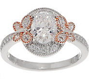 Diamonique Oval Halo Butterfly Ring, Sterling Silver - J356784