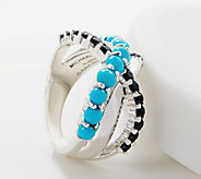Michael Dawkins Sterling Silver Black Spinel & Kingman Turquoise Ring - J361084