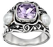 Hagit Sterling 2.15 cttw Pink Quartz & Cultured Pearl Ring - J392884