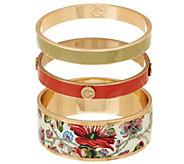 C. Wonder Set of 3 Floral Print & Solid Enamel Round Slip-on Bangles - J328885