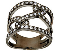 As Is Italian Silver Sterling Diamonique Double Status Design Ring - J330085