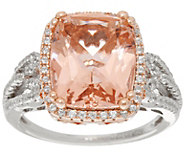 Diamonique and Simulated Morganite Ring, Sterling - J335085