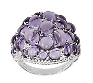 Judith Ripka Sterling Amethyst & Diamonique Cluster Ring - J336385