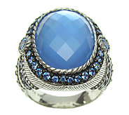 Judith Ripka Sterling Blue Doublet & Blue Diamonique Ring - J337485