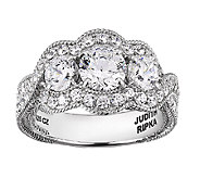 Judith Ripka Sterling 5.25cttw 3-Stone Diamonique Ring - J338685