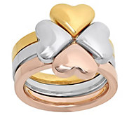 Stainless Steel Three-Piece Heart Clover Ring - J343285