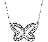 Diamonique 6/10 cttw Open Butterfly 18 Necklace, Sterling - J343785