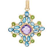Arte d Oro 34.60 cttw Multi-gemstone Pendant, 18K Gold - J353485