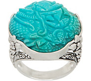 Stephen Dweck Sterling Silver Carved Turquoise Ring - J354885