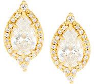 Judith Ripka Sterling or 14K Clad Pear Diamonique Halo Stud Earrings - J355085