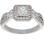 Diamonique Princess Cut Halo Ring, Sterling Silver - J356785