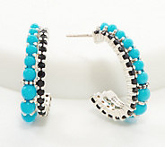 Michael Dawkins Sterling Silver Black Spinel & Turquoise Hoop Earrings - J361085