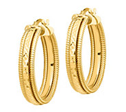 Italian Gold Diamond-Cut & Ribbed Textured HoopEarrings, 14K - J385685
