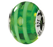 Prerogatives Sterling Green Striped Italian Murano Glass Bead - J111586