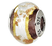 Prerogatives Sterling White & Brown Italian Murano Glass Bead - J111786