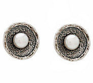 Or Paz Sterling Culture Freshwater Pearl Textur e Disc Earring - J297686