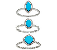 Sleeping Beauty Turquoise Sterling Set of 3 Stack Rings - J335386