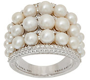 Judith Ripka Sterling Silver Cultured Pearl & Diamonique Ring - J352286