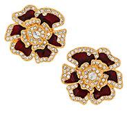 As Is Joan Rivers Elegance in Bloom Pave Rose Earrings - J353786