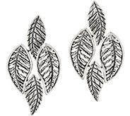 Or Paz Sterling Silver Textured Leaves Earrings - J354986