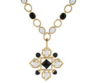 As Is Lux Rachel Zoe Cabochon Link Necklace with Pin & Enhancer - J357886