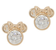Mickeys 90th Birthday Diamonique Minnie Studs, 14K Gold - J357986