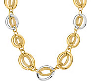14K Two-Tone Polished and Textured Link 18 Necklace, 31.7g - J377286